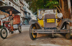 vintage car in central Havana. Stock Photos