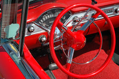 Vintage Car Dash Board and Wheel. Details of a vintage convertible car royalty free stock photography