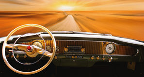 Vintage car dashboard  (fragment) Stock Photo