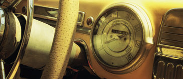 Vintage car dashboard  (fragment) Royalty Free Stock Photo