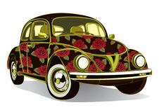 Vintage car decorated with roses. Retro floral cartoon cars  airbrushing. Vector  illustration Stock Images