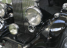 Vintage car detail. Perfectly restored luxury vintage car stock photography