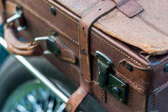 Vintage car detail - suitcase Stock Images