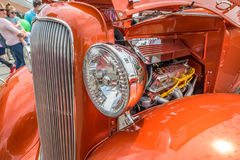 Vintage car Details interior engine and head lamps Royalty Free Stock Photography