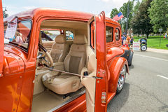 Vintage car Details interior seats and steering Royalty Free Stock Photos