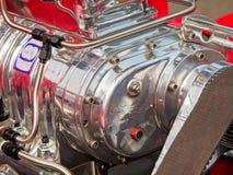 Vintage car engine. Detail of a classic vintage car engine, selective focus stock photography