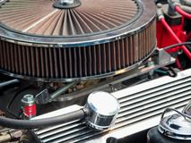 Vintage car engine. Detail of a classic vintage car engine, selective focus stock photo