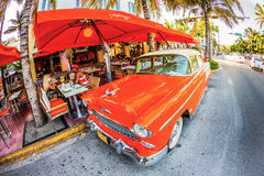 Vintage Car in famous Ocean Drive in Miami South Stock Photography
