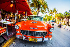 Vintage Car in famous Ocean Drive in Miami South Stock Images