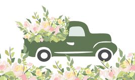 Vintage car with flowers. Engraving style. vector illustration