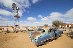 Vintage car in front of the Lodge Canyon Roadhouse. FISH RIVER CANYON, NAMIBIA - SEPTEMBER 01, 2015: Vintage car in front of the Lodge Canyon Roadhouse, Fish stock photo
