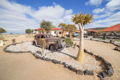 Vintage car in front of the Lodge Canyon Roadhouse. FISH RIVER CANYON, NAMIBIA - SEPTEMBER 01, 2015: Vintage car in front of the Lodge Canyon Roadhouse, Fish royalty free stock image