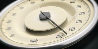 Vintage car gauge speedometer closeup detail, black background. 3d illustration. High speed. Vintage car gauge speedometer closeup detail, black background stock photography