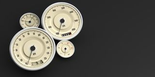 Vintage car gauges isolated on black background, copy space. 3d illustration. Vintage car gauges isolated on black background, copy space. Indications for speed Stock Image