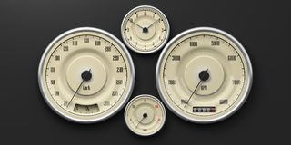 Vintage car gauges isolated on black background. 3d illustration. Vintage car gauges isolated on black background. Indications for speed, fuel, RpM, distance and Stock Photos