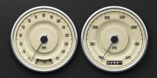 Vintage car gauges isolated on black background. 3d illustration. Vintage car gauges isolated on black background. Indications for speed, fuel, RpM and distance Stock Photography