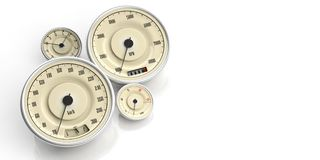 Vintage car gauges isolated on white background, copy space. 3d illustration. Vintage car gauges isolated on white background, copy space. Indications for speed Royalty Free Stock Images