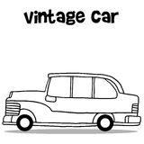Vintage car with hand draw. Vector illustration Stock Images