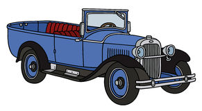 Vintage car. Hand drawing of a vintage blue open autocar - not a real model Royalty Free Stock Photography