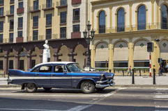 Vintage car in Havana, Cuba. An old american blue car in Old Havana, Cuba royalty free stock images