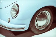 Vintage car headlight close up. Old luxury car classic design. Toned image royalty free stock photos