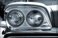 Vintage Car Headlights. Closeup of vintage car headlights in black and white royalty free stock photos