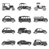 Vintage car icons. Set of 12 vintage car icons, classic cars royalty free illustration