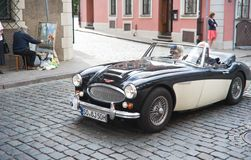 Vintage Car In Street Of Old Riga Center Stock Images