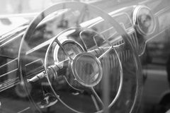 Vintage car interior black and white image. Stock Image