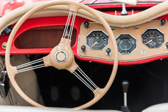 Vintage Car Interior. With Retro Dashboard Royalty Free Stock Photo