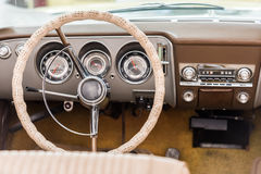 Vintage Car Interior. With Retro Dashboard Royalty Free Stock Images