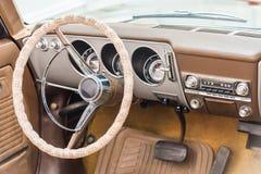 Vintage Car Interior. With Retro Dashboard Stock Photo
