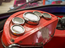 Vintage Car Interior. With Retro Dashboard Royalty Free Stock Photography