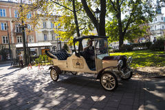 Vintage car in the Kazimierz District in Krakow Poland. Kazimierz – the district south of the Old Town  was the centre of Jewish life in Kraków for over 500 Royalty Free Stock Photography