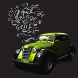 Vintage car lettering vectors Royalty Free Stock Image