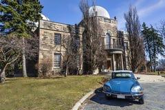 Vintage Car Meets Observatory Stock Photo