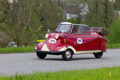 Vintage car Messerschmitt KR 200 from 1955. MUTSCHELLEN, SWITZERLAND-APRIL 29: Vintage car Messerschmitt KR 200 from 1955 at Grand Prix in Mutschellen, SUI on Royalty Free Stock Photos