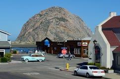 Vintage Car at Morro Rock, Morro Bay, California, USA Stock Photo