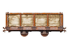 Vintage car for the narrow-gauge railway on white background. Vintage car for the narrow-gauge railway isolated on white background Royalty Free Stock Photo