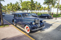 Vintage car at the Ocean Drive in Miami Beach Royalty Free Stock Photos