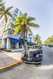 Vintage car at the Ocean Drive in Miami Beach Stock Images