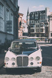 Vintage car in Old Riga Royalty Free Stock Photo
