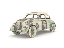 Vintage car origami made from dollar bills.  Royalty Free Stock Photos