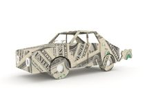 Vintage car origami made from dollar bills.  stock illustration