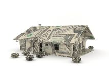Vintage car origami made from dollar bills. Model of a house made by dollar bills stock illustration