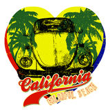 Vintage Car with Palm Tree. Summer California Yellow Hearts Graphic Design Royalty Free Stock Photography