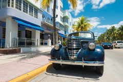 Vintage car parked at Ocean Drive in South Beach, Miami Stock Photography