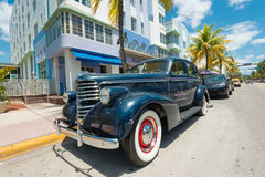 Vintage car parked at Ocean Drive in South Beach, Miami Stock Photos