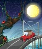 A vintage car passing across the bridge vector illustration