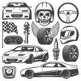 Vintage Car Racing Icons Set. With automobiles steering wheel tires speedometer skull helmet gearbox flag shock absorber spark plug  vector illustration Stock Photography